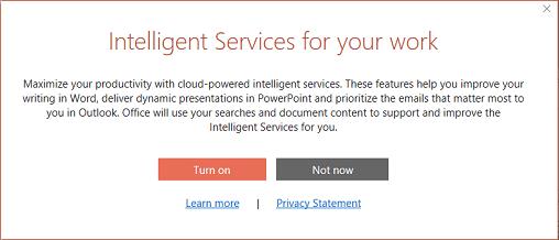 Dialogruta för anmälan till Intelligenta Office-tjänster