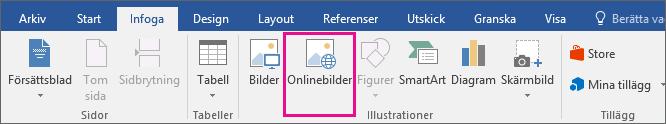 Ikonen Onlinebilder är markerad på fliken Infoga