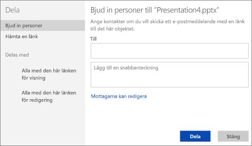 Bjuda in personer till en presentation