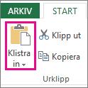 Kommandot Klistra in i gruppen Urklipp