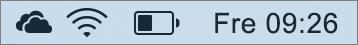 OneDrive-ikonen i systemfältet på Mac