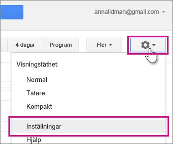 google calendar – inställningar – inställningar