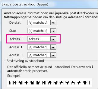 Fält i rutan Generera poststreckkod