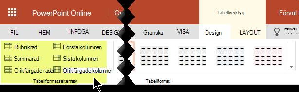 Du kan lägga till skuggningsformat för vissa rader eller kolumner i en tabell.