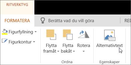 Skärmbild som visar fliken Format i Ritverktyg med en markör som pekar på alternativet Alternativtext.