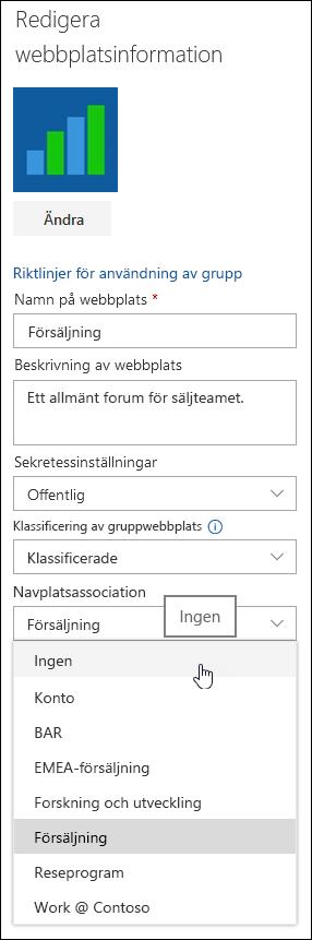 Koppla bort en webbplats från en SharePoint-navwebbplats