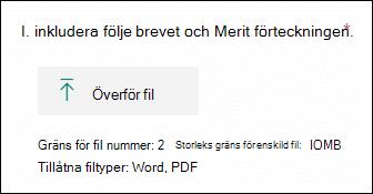 Fråga i Microsoft Forms som gör att filer kan laddas upp