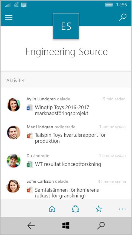 Windows 10 Mobile med aktiviteter, filer, listor och navigering