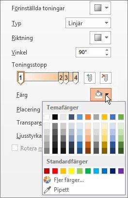Ändra färg för varje toningsstopp