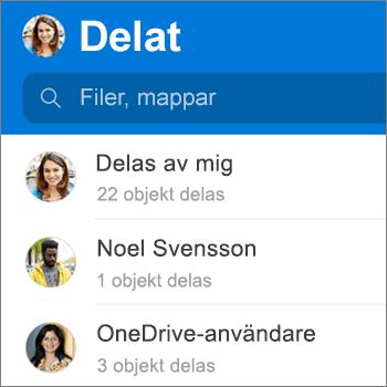 Vyn Delade filer i OneDrive-appen för Android