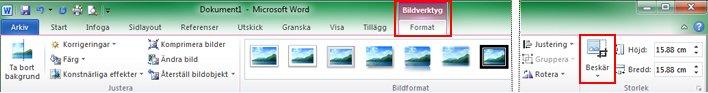 Flik för menyfliksområdet Format under Bildverktyg, beskärningskommando