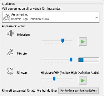Anpassade inställningar – högtalare, mikrofon och ringsignal – för ljudenhet