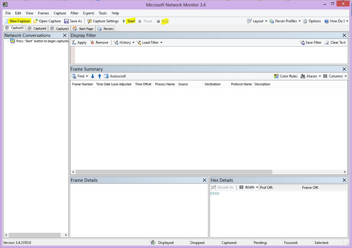 Nemons användargränssnitt med knapparna Ny registrering, Start och Stopp markerade.