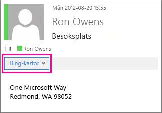 Outlook-meddelande med Bing Maps