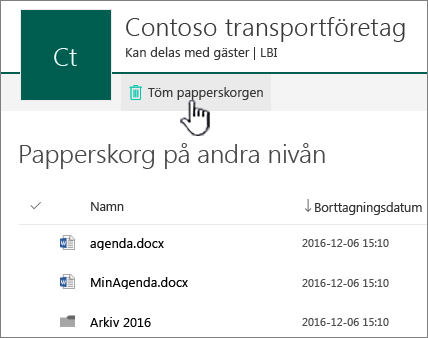 Papperskorgen på andra nivån i SharePoint Online med knappen Töm papperskorgen markerad
