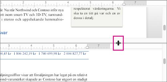 Du kan dela fönstret för att visa olika delar av samma dokument och visa olika vyer.