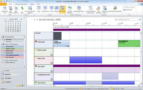 Flera teammedlemmars kalendrar.