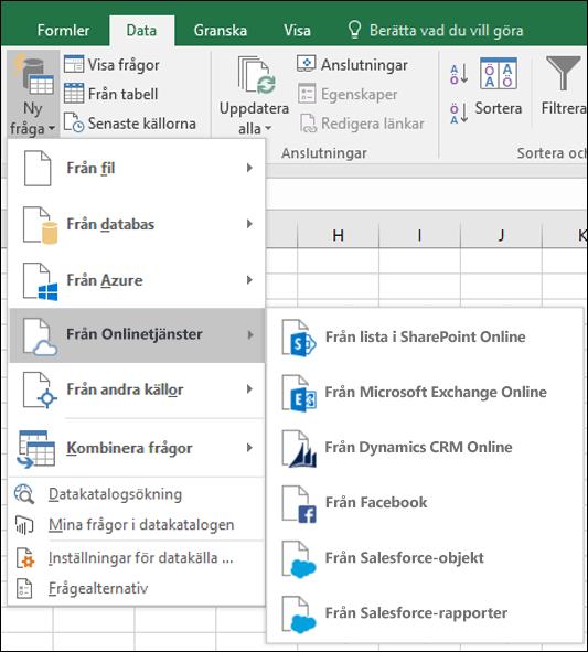 Excel Power BI – Dialogruta för koppling till onlinetjänster