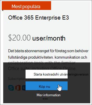 Knappen Köp nu för att lägga till och Enterprise, E3-prenumeration.