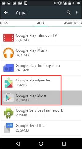 Rensa cache för appen Google Play Store