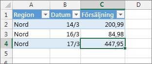 Markera den sista cellen och tryck på Tabb om du vill lägga till en ny tabellrad