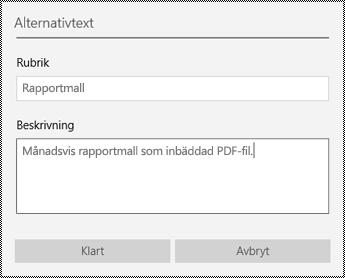 Lägga till alternativtext till inbäddade filer i OneNote för Windows 10-appen