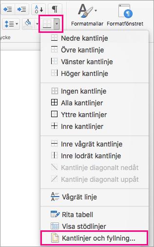 Ikonen Kantlinjer och Kantlinjer och fyllning är markerade på fliken Start.