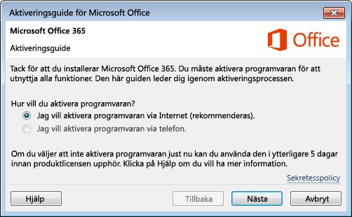 Visar aktiveringsguiden för Office 365