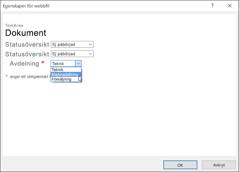 Dialogrutan Egenskaper för webbfil med fältet Avdelning som visar en lista med tre alternativ.
