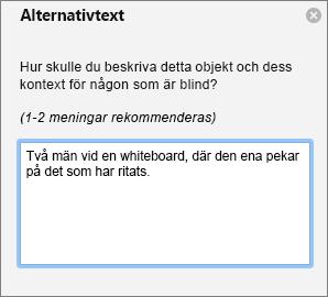 Fönstret Alternativtext för att lägga till alternativtext för en bild i Outlook