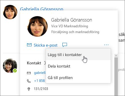 Skärmbild av ett öppet kontaktkort med Lägg till i kontakter markerat
