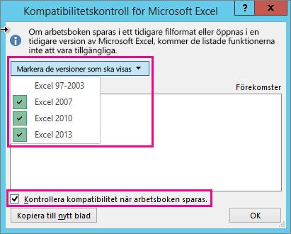 Kompatibilitetskontroll som visar versioner som ska kontrolleras