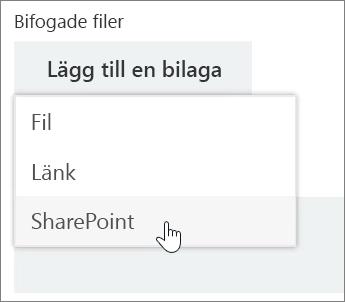 Skärmbild av området för bilagor i ett uppgiftsfönster med listan Bifoga öppen.
