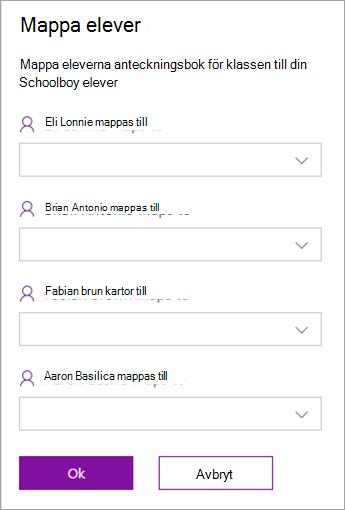 Mappa studenter mellan anteckningsböcker för klassen och LMS eller SIS klasser.
