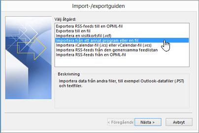 importerings-/exporteringsguiden – importera från ett annat program eller en annan fil