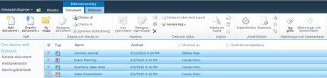 SharePoint-dokumentbibliotek med flera filer som markerats för utcheckning