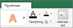 Knappen alternativ text för former i menyfliksområdet i Excel för Mac