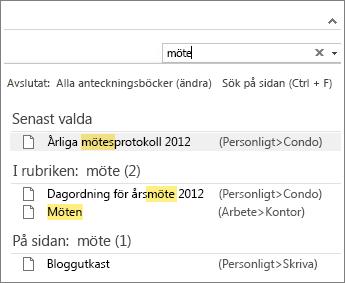 Leta efter anteckningar i OneNote med sökfunktionen.
