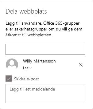Lägga till en person i fönstret dela webbplats