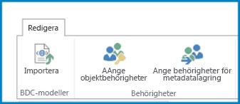 En skärmdump på menyfliksområdet Redigera i inställningar för konnektivitetstjänster för företag med knappen BDC-modellimport och behörighetsinställningar.