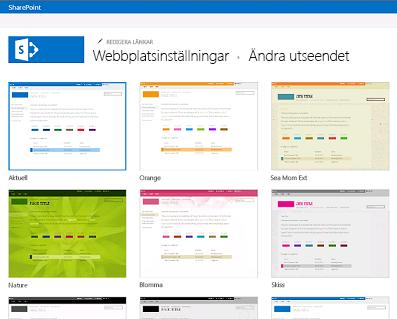 Exempel på tillgängliga designer för att anpassa communitywebbplatsen