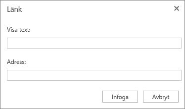 Skärmbild av dialogrutan Länk med fälten Visningstext och Adress med information för en hyperlänk.