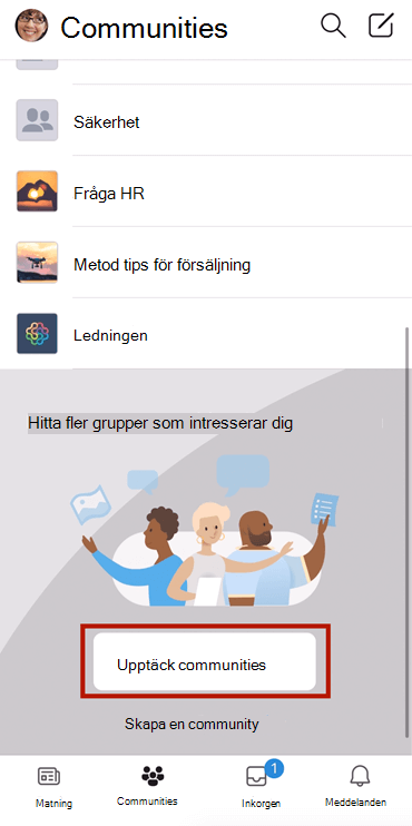 Skärm bild som visar hur Yammer-communities hittas på mobil med markering
