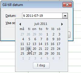 Gå till dialogrutan Datum med Datumbläddring