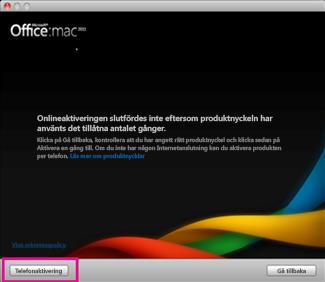 Office för Mac-aktivering via telefon, skärmbild