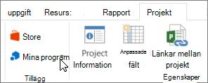 Skärmbild av en del av fliken projekt i menyfliksområdet med en markör som pekar på Mina program. välja Mina program för att markera ett nyligen använda program, hantera alla dina program eller går du till Office Store för nya program.
