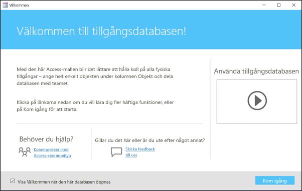 Komma igång-formulär i en tillgångsdatabasmall i Access