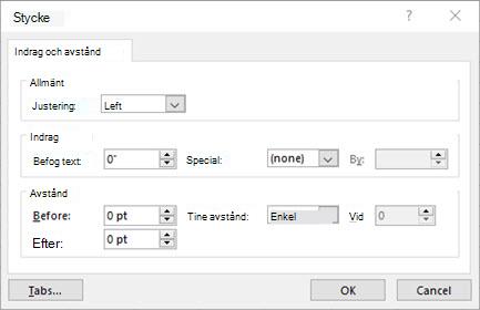 Bild av dialogrutan Stycke för redigering av textrutans textindrag och avstånd