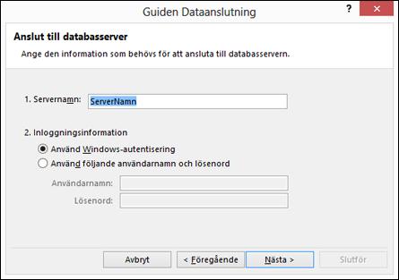 Guiden Dataanslutning > Anslut till server