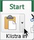 Pil bredvid knappen Klistra in